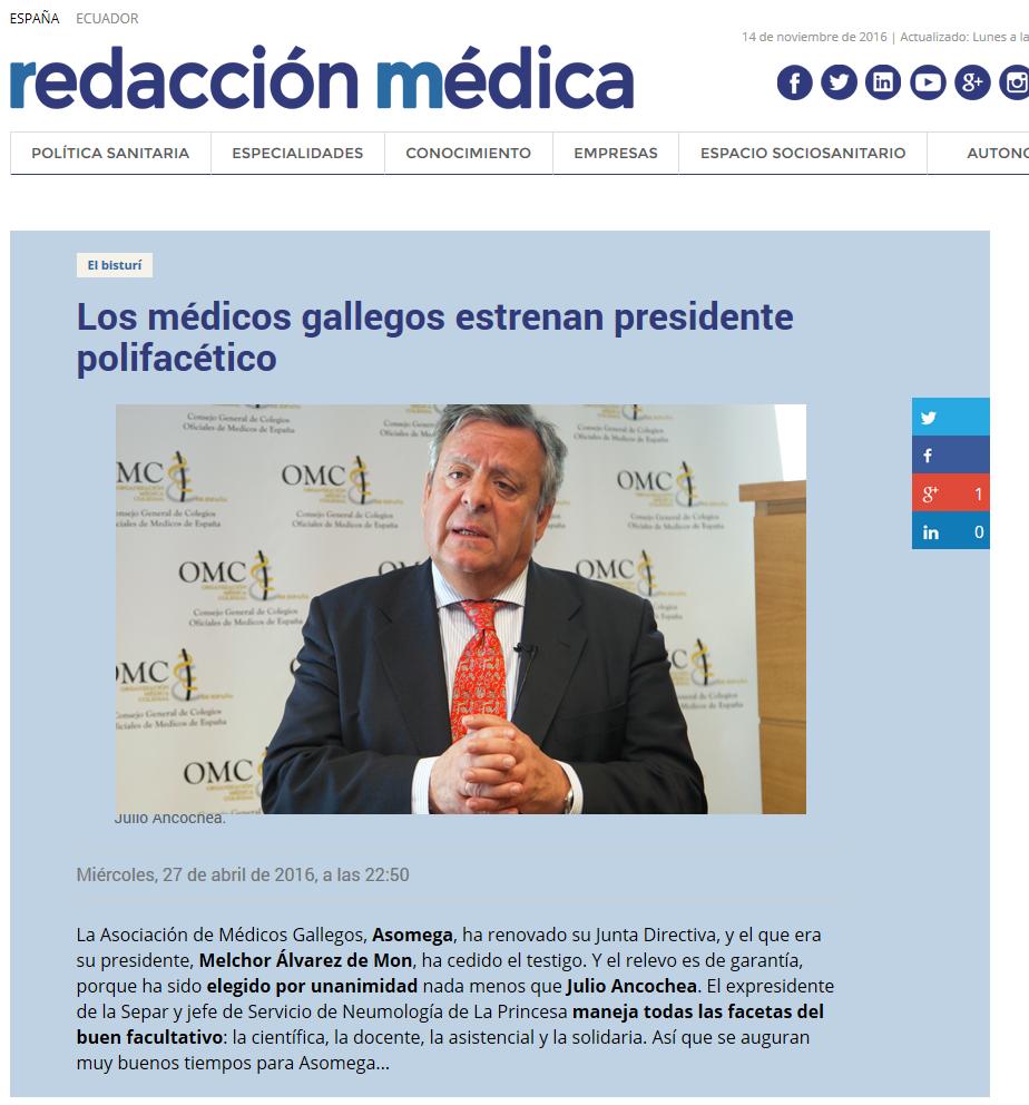 Los médicos gallegos estrenan presidente polifacético