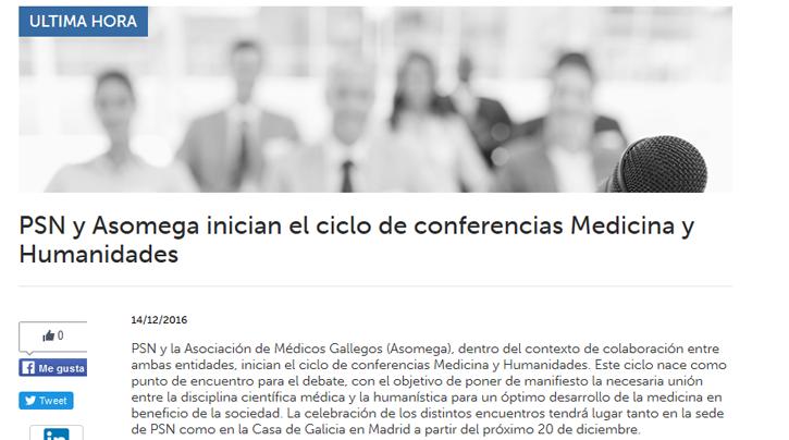 Mediadores. PSN y Asomega inician el ciclo de conferencias 'Medicina y Humanidades'