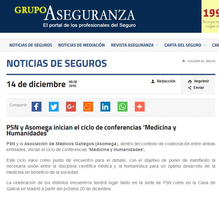 PSN y Asomega inician el ciclo de conferencias 'Medicina y Humanidades'   Grupo Aseguranza