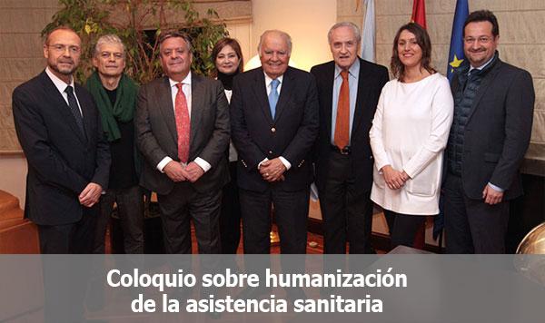"""Participantes en el coloquio sobre humanización de la asistencia sanitaria que ha cerrado el ciclo """"Medicina y Humanidades"""" de Asomega."""