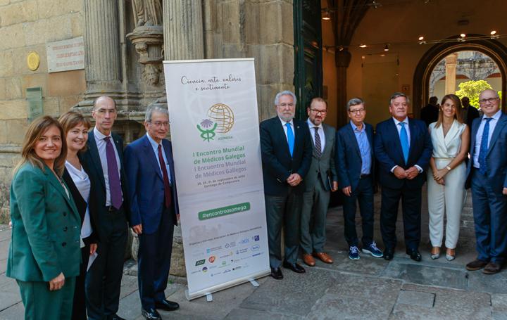 Inauguración del I Encontro Mundial de Médicos Galegos. Santalices, en el centro de la imagen