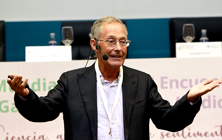 Ángel Carracedo en el pasado Encontro Mundial de Médicos Galegos que organizó Asomega
