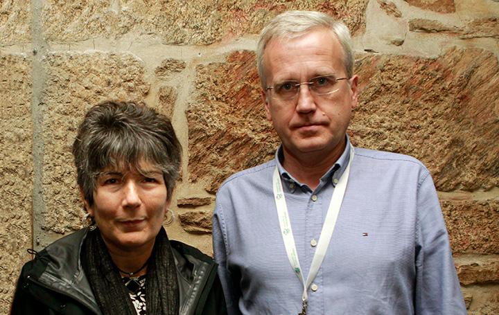 Esther Barreiro y Francisco García Río en el pasado Encontro Mundial de Médicos Galegos organizado por Asomega.
