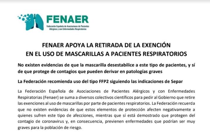 Nota de prensa de Fenaer