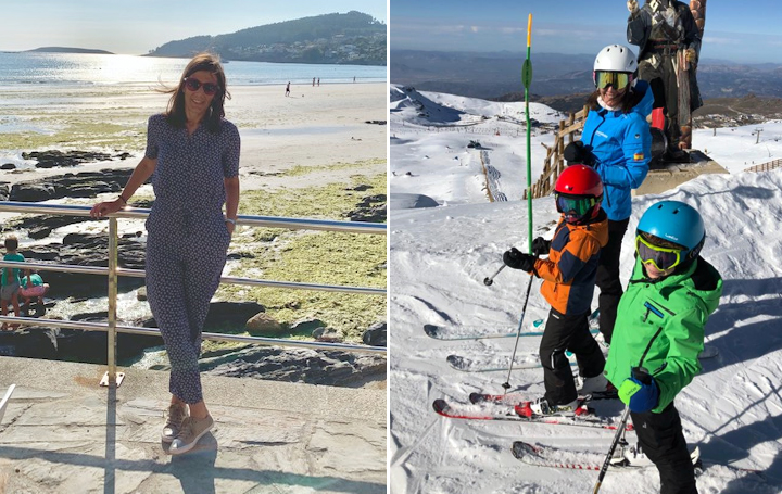 Paula Peleteiro en dos momentos de su vida personal recurrentes pero especiales: en la playa de Nigrán y esquiando con sus hijos.