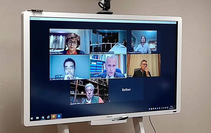 Momento de la reunión de la Junta Directiva de Asomega del pasado 15 de abril