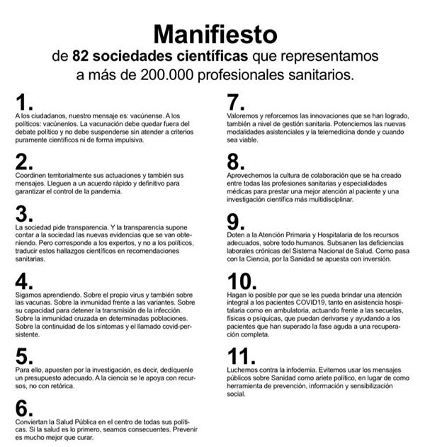 Manifiesto de las sociedades científicas en once puntos