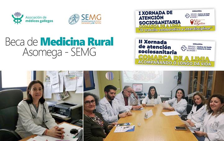 Cristina Margusino, ganadora de la I Beca de Medicina Rural, en su consulta. A la derecha, con el resto de su equipo