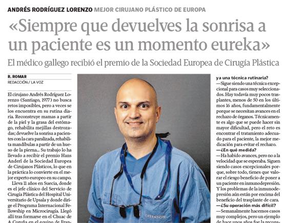Entrevista al doctor Rodríguez Lorenzo en La Voz de Galicia