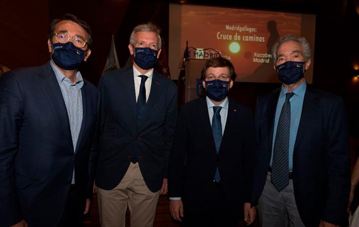 Roberto Conde, de la Junta Directiva de Asomega; Alfonso Rueda, vicepresidente de la Xunta; José Luis Martínez Almedia, alcalde de Madrid; y Ramón Cadórniga, socio de Asomega.