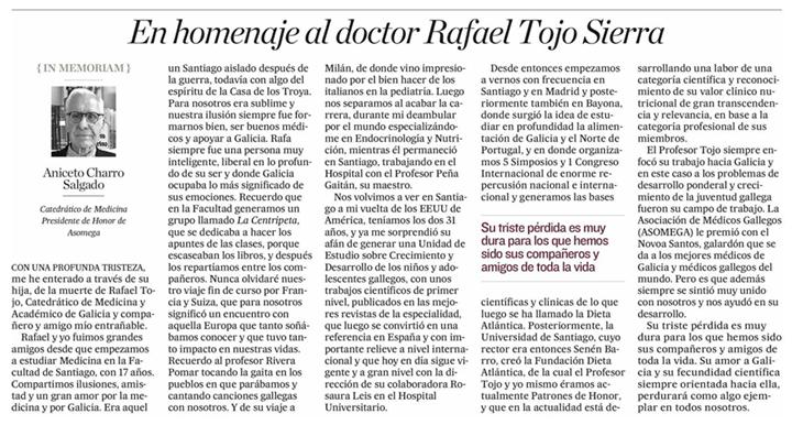 Artículo del dr. Charro en El Correo Gallego sobre el profesor Tojo Sierra