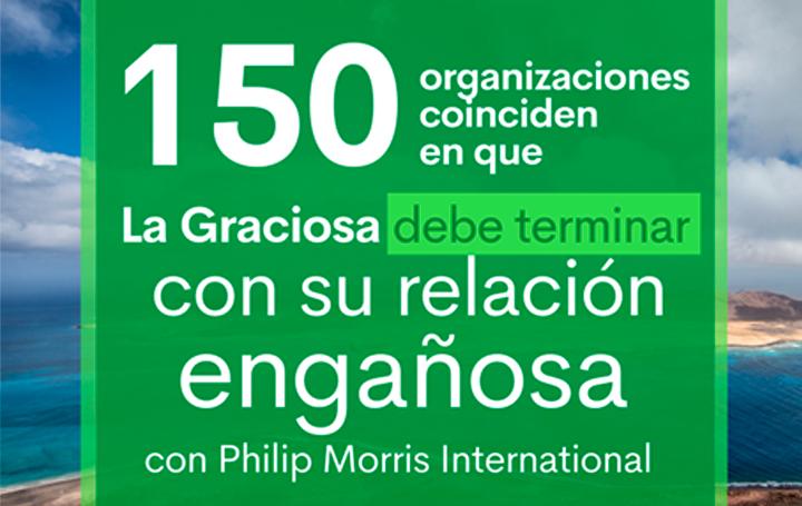 Imagen de la campaña para denunciar el acuerdo de la La Graciosa con Phillip Morris